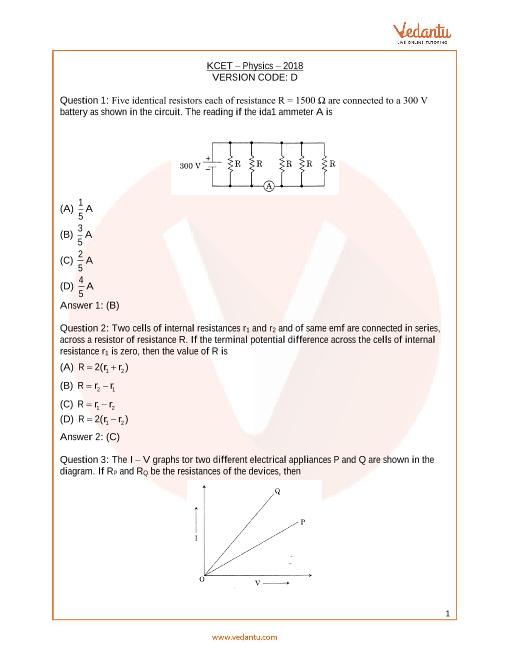 KCET_Physics_Year_2018 part-1