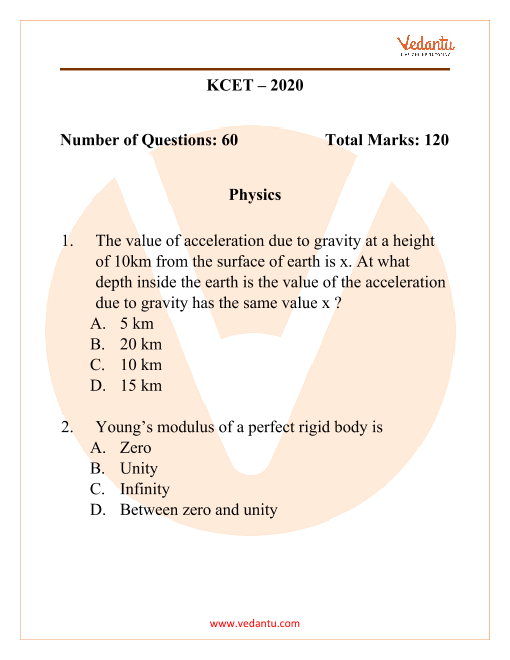 KCET 2020 Previous Year Question Paper for Physics part-1