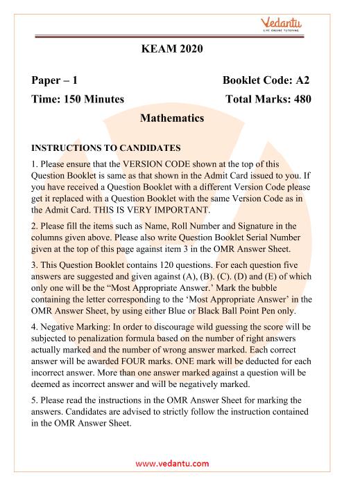KEAM Maths Question Paper 2020 PDF Download part-1