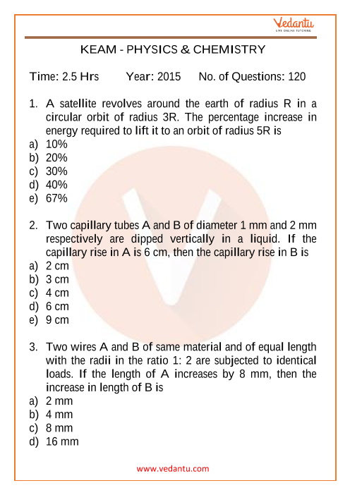 KEAM Physics and Chemistry 2015 PYQP part-1