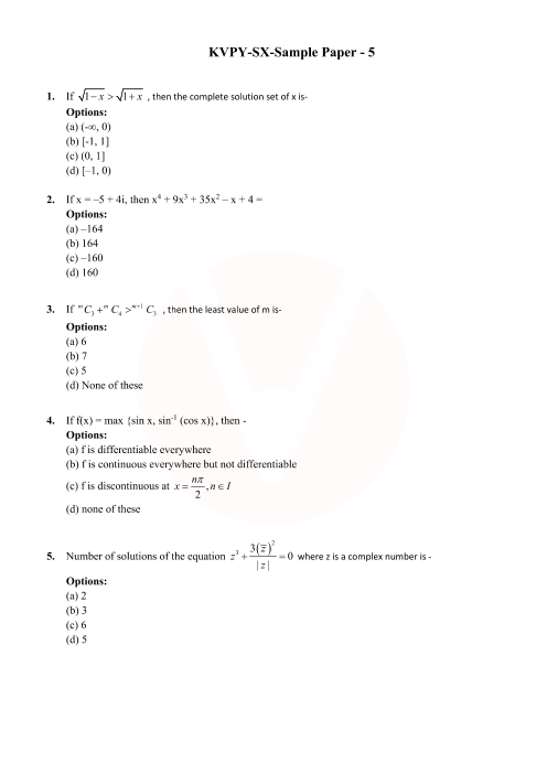 KVPY SX - Sample Paper - 5 part-1