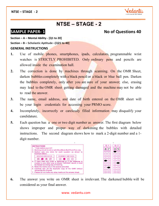 NTSE Exam Sample Paper 1 part-1