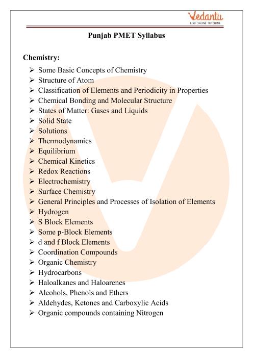 PEAM Chemistry Syllabus part-1