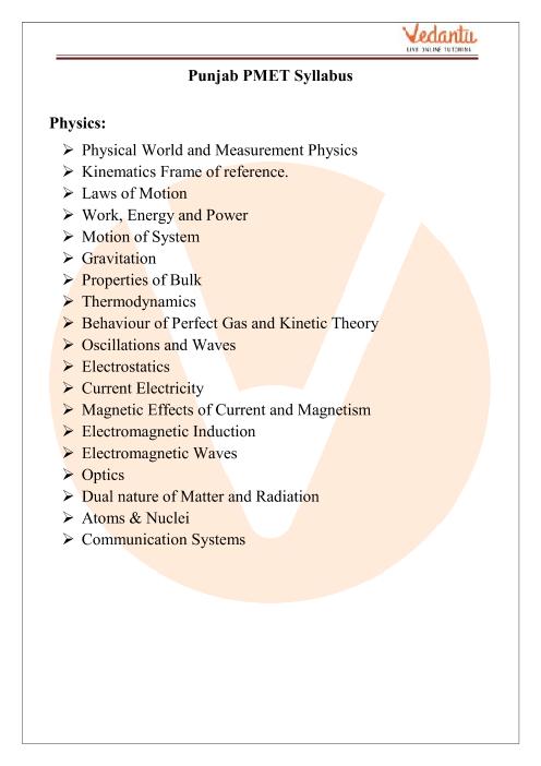 PEAM Physics Syllabus part-1