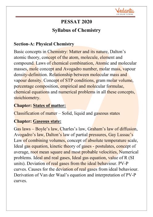 PESSAT Chemistry Syllabus 2020 PDF Download part-1