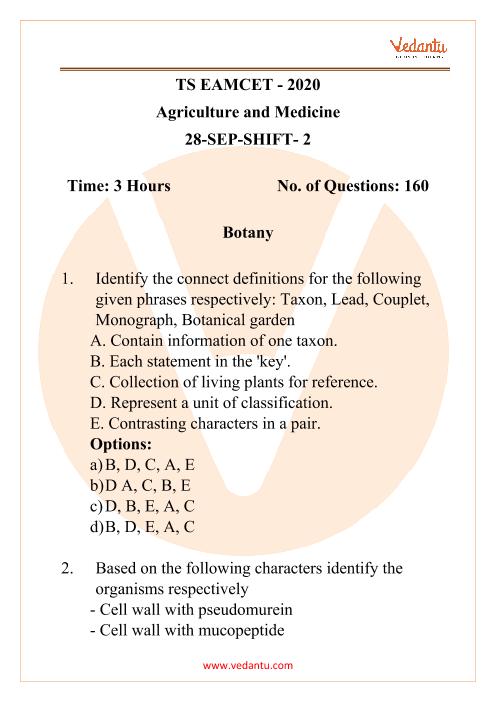 TS EAMCET - 2020 Agriculture and Medicine 28-September-Shift- 2 part-1