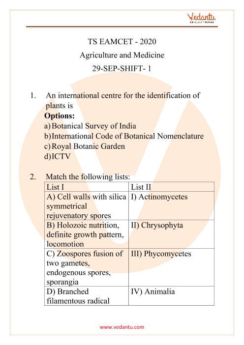 TS EAMCET - 2020 Agriculture and Medicine 29-September-Shift-1 part-1