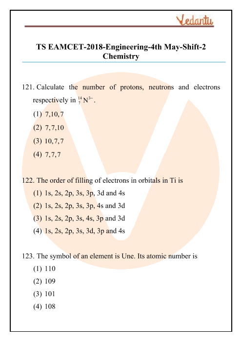 TS EAMCET 2018 Chemistry Question Paper 04 May Evening part-1