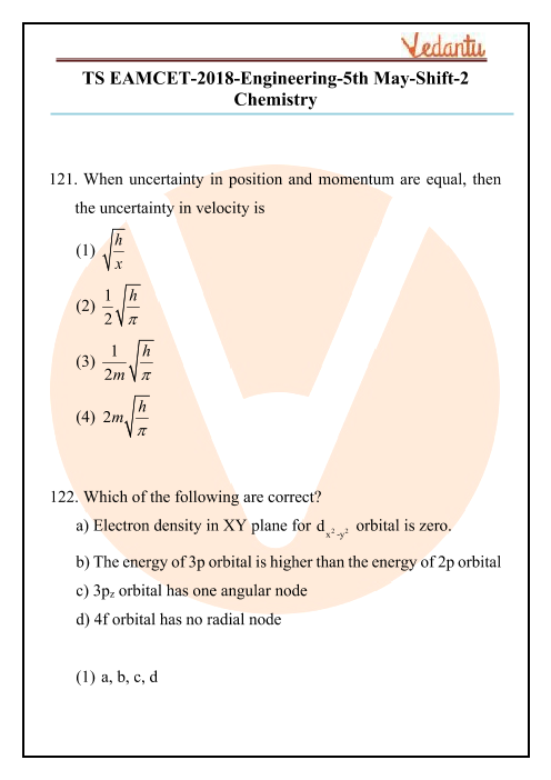 TS EAMCET 2018 Chemistry Question Paper 05 May Evening part-1