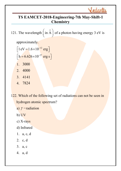 TS EAMCET 2018 Chemistry Question Paper 07 May Morning part-1