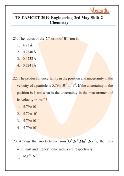 TS EAMCET 2019 Chemistry Question Paper 03 May Evening part-1