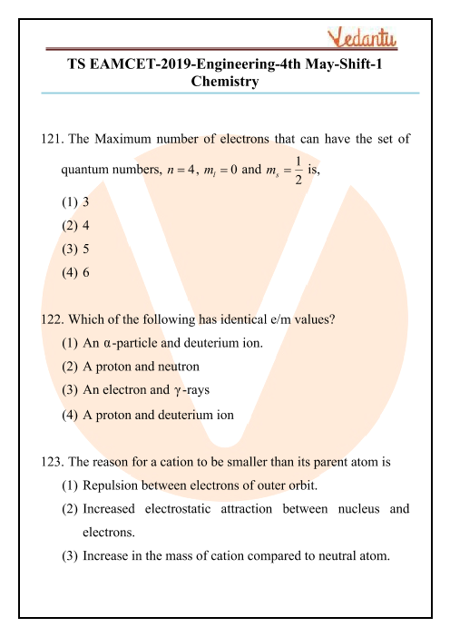 TS EAMCET 2019 Chemistry Question Paper 04 May Morning part-1