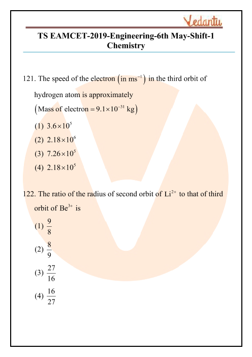 TS EAMCET 2019 chemistry Question Paper 06 May Morning part-1