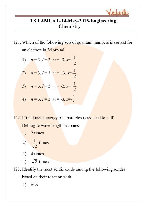TS EAMCET 2015 Chemistry Question Paper part-1