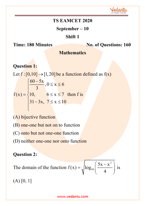 TS EAMCET Engineering Question Paper 10th September 2020 Shift 1 part-1