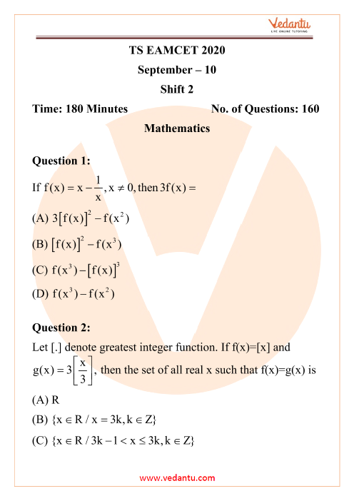 TS EAMCET Engineering Question Paper 10th September 2020 Shift 2 part-1