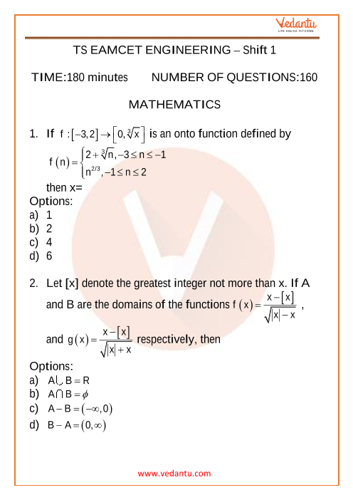 TS EAMCET 2020 (Engineering) Previous Year Question Papers - 11 September 2020 Morning Shift part-1