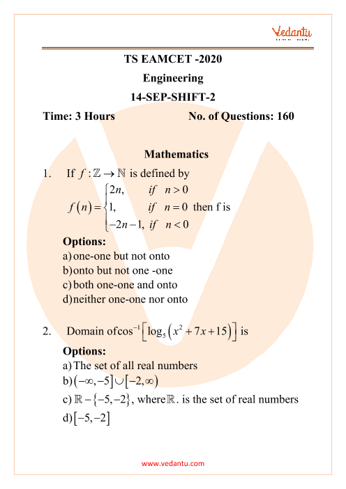 TS EAMCET 2020 (Engineering) Previous Year Question Papers - 14 September 2020 Evening Shift part-1