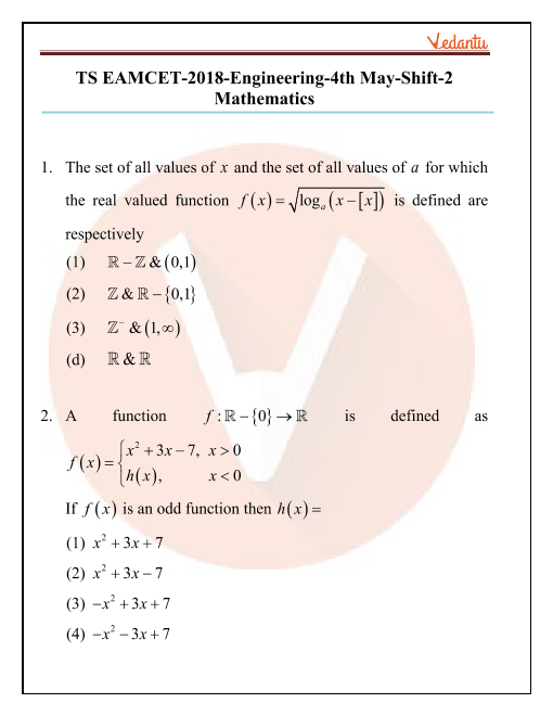 TS EAMCET 2018 Maths Question Paper 04 May Evening part-1