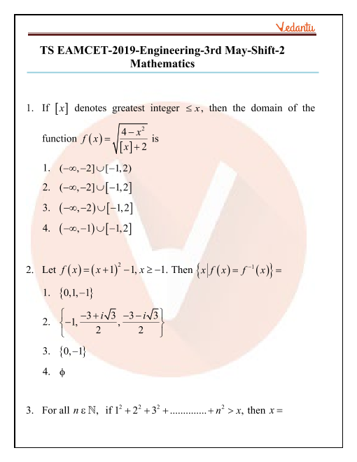 TS EAMCET 2019 Maths Question Paper 03 May Evening part-1