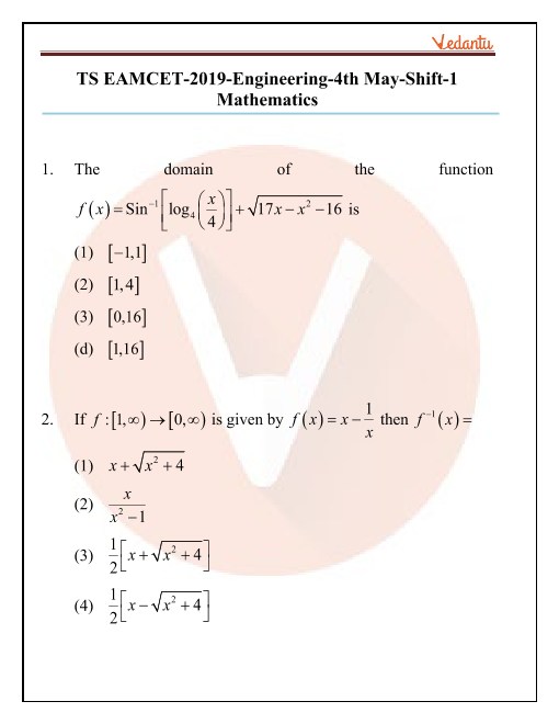 TS EAMCET 2019 Maths Question Paper 04 May Morning part-1
