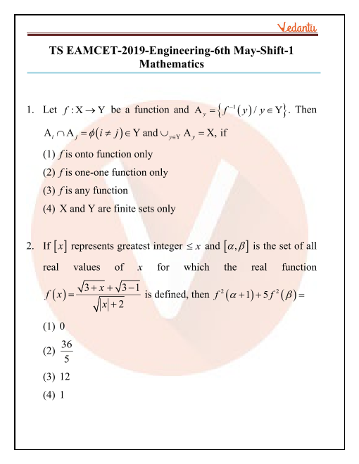 TS EAMCET 2019 maths Question Paper 06 May Morning part-1