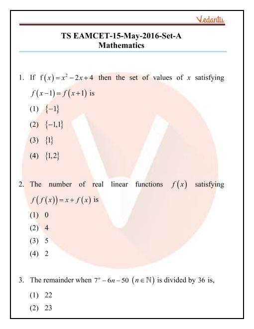 TS EAMCET 2016 Maths Question Paper part-1