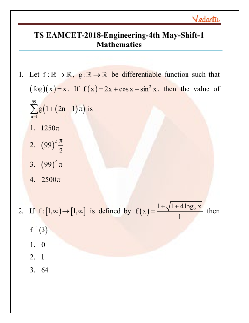 TS EAMCET 2018 Maths Question Paper 04 May Morning part-1