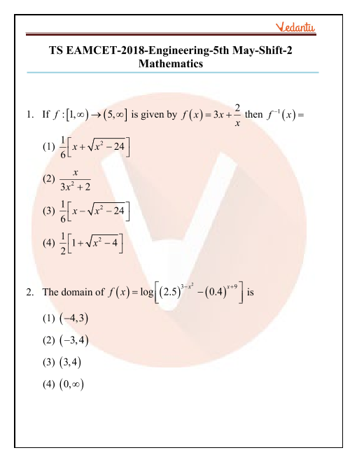 TS EAMCET 2018 Maths Question Paper 05 May Evening part-1