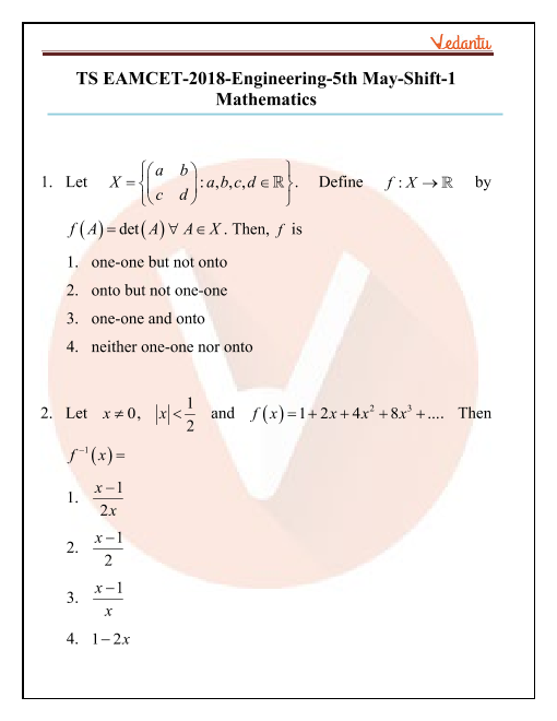 TS EAMCET 2018 Maths Question Paper 05 May Morning part-1