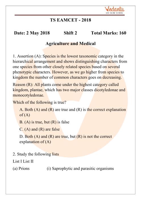 TS EAMCET 02_May_2018 Medical - shift 2 part-1