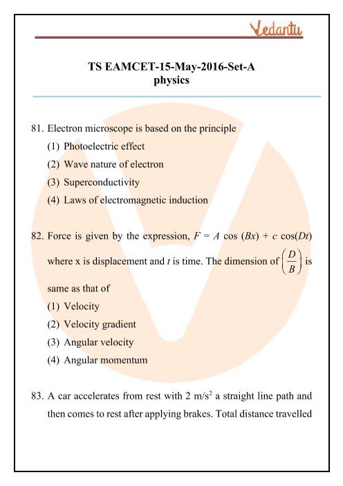 TS EAMCET 2016 Physics Question Paper part-1