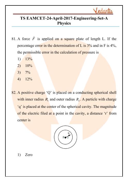 TS EAMCET 2017 Physics Question Paper part-1