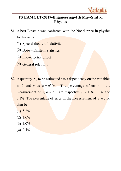 TS EAMCET 2019 Physics Question Paper 04 May Morning part-1