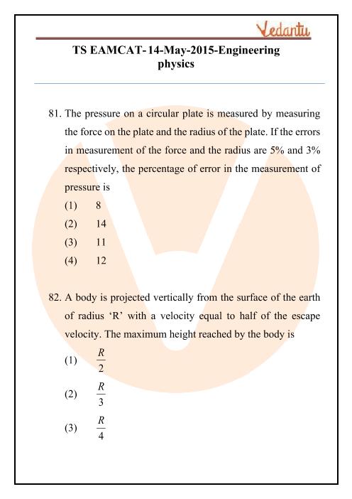 TS EAMCET 2015 Physics Question Paper part-1
