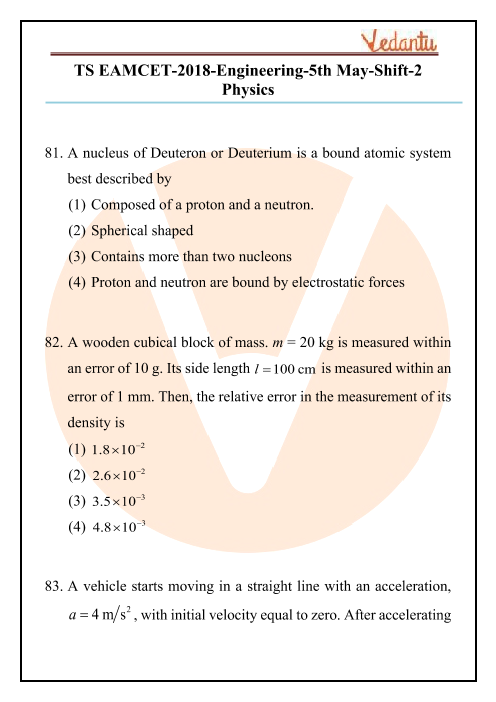 TS EAMCET 2018 Physics Question Paper 05 May Evening part-1