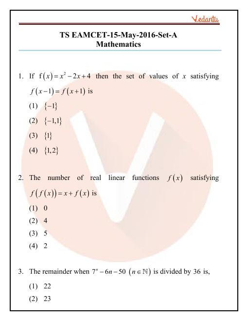 TS EAMCET 2016 Question Paper part-1