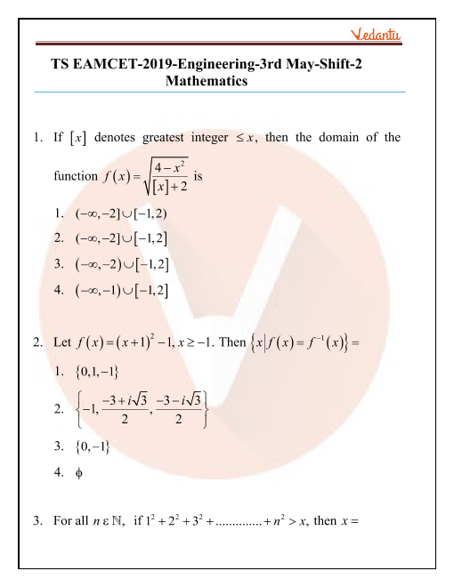 TS EAMCET 2019 Question Paper 03 May Evening part-1