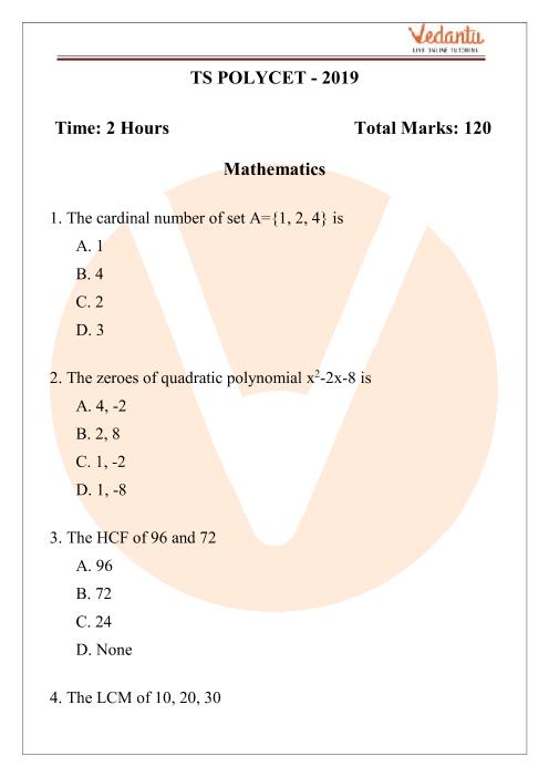 TS Polycet Question Paper 2019 part-1