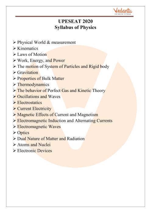 UPESEAT Physics Syllabus 2020 part-1