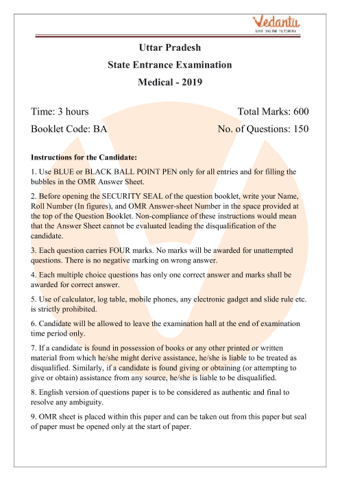 UPSEE Biology Question Paper 2019 part-1