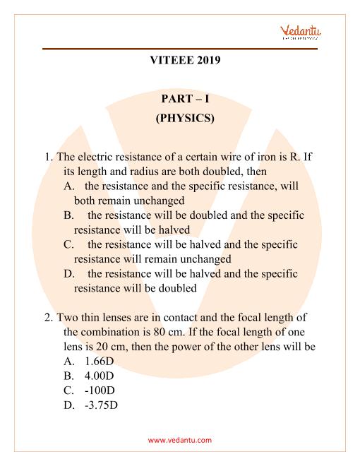 VITEE Question Paper 2019 part-1