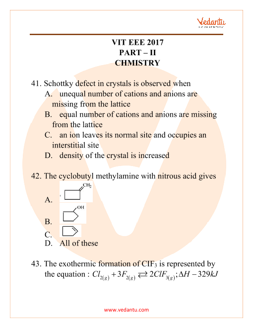 VITEEE Chemistry Question Paper 2017 part-1