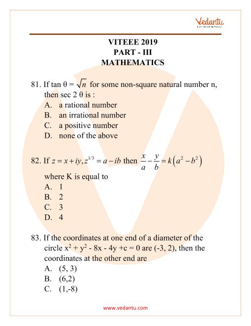 VITEEE Mathematics 2019 part-1