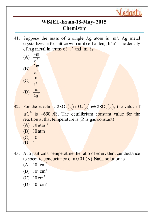 WBJEE 2015 Chemistry Question Paper part-1