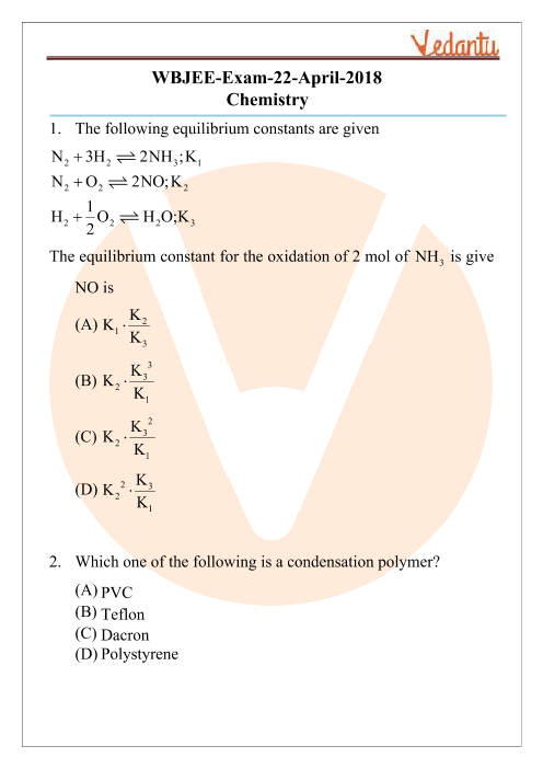 WBJEE 2018 Chemistry Question Paper part-1