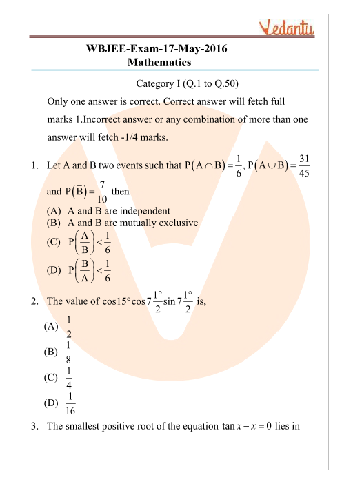 WBJEE 2016 Maths Question Paper part-1