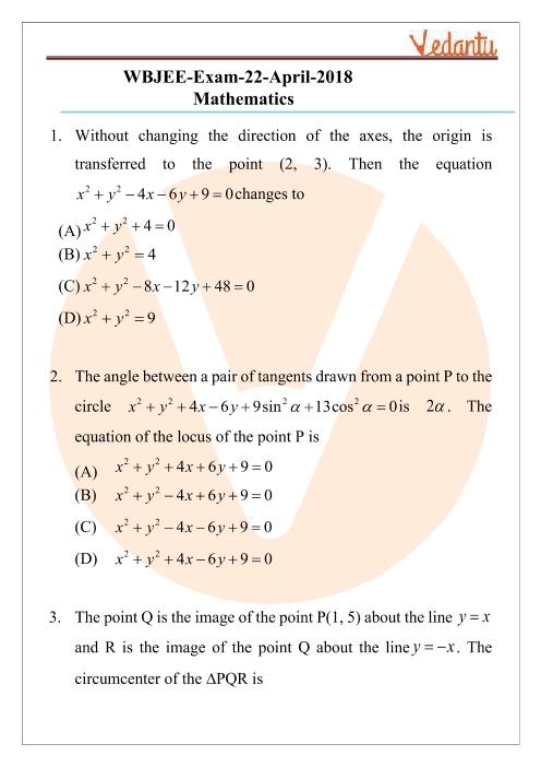 WBJEE 2018 Mathematics Question Paper part-1