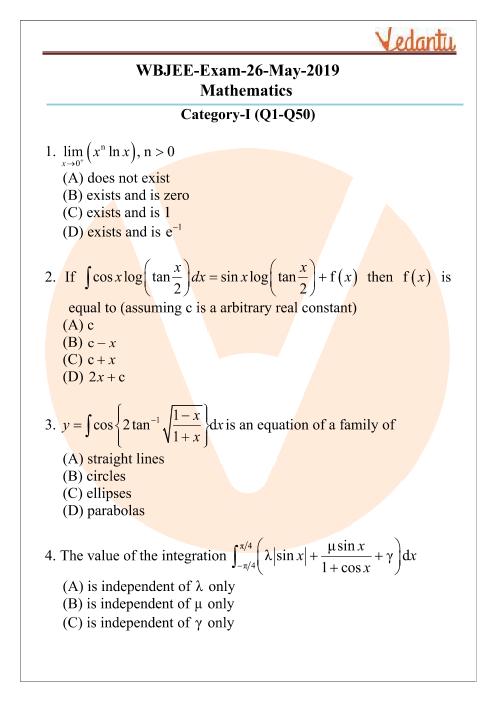 WBJEE 2019 Mathematics Question Paper part-1
