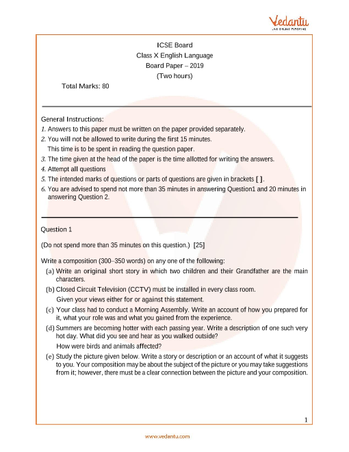 Previous Year English Question Paper for ICSE Class 10 Board - 2019